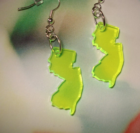 Fluorescent Neon Green New Jersey Earrings in Acrylic - Limited Edition