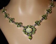 Opal, Cats Eye, Australian Opal,Peridot, Opal Necklace, Peridot Necklace Free Shipping/Appraisal Included