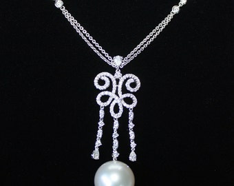 Pearl Necklace with Diamonds, South Sea Pearl, Gift for her, Anniversary Gift, June Birthstone, Appraisal Included