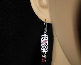 Pink Tourmaline, Tourmaline Earrings, Briolette, Faceted Gems