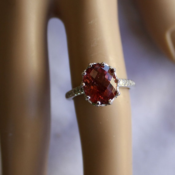 SALE- 3.50cts 14k Natural, Untreated, Raspberry Pink Tourmaine and .30cts White Diamond Engagement Ring,WW Free Shipp/Appraisal (Was 899.00