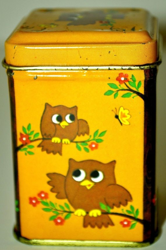 Vintage collectible orange 70's Hallmark owl tin with flower branches and butterflies.