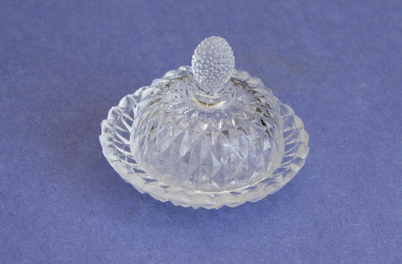 Vintage Miniature Glass Plate with Cover