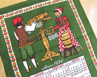 1974 Vintage Calendar Kitchen Towel by Elling of Copenhagen
