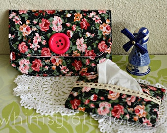 Black Rose Purse Pouch FREE Tissue Holder