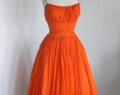 1950's VIntage  Tangerine Orange Shelf Bust Chiffon Prom Dress with Rhinestone straps.