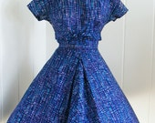 RESERVED 1950's Vintage Don Loper Blue Dress Designer Mad Men M/L
