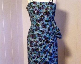 1940 1950 Vintage Blue Hawaiian Sarong Dress Rockabilly VLV Rockabilly Viva Las Vegas