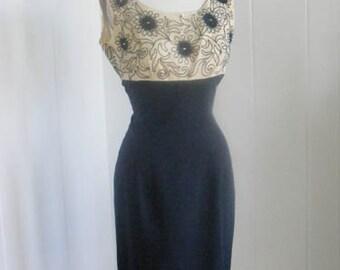 1950s  Lilli Diamond Cream and Black Wiggle Pencil Dress