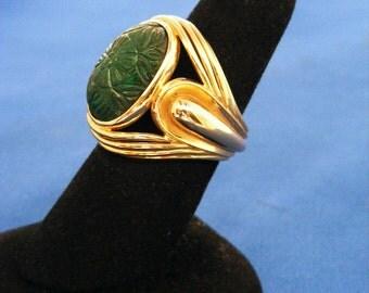Antique Retro 1940 Vintage 18K Gold Large Carved Emerald Ring 13.9 Grams