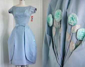 1950's Vintage Blue Organza Bubble Party Dress