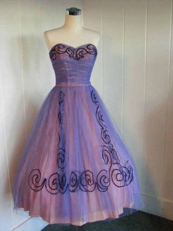 1950 Vintage Purple Tulle Prom Dress Party By Vintagebluemoon