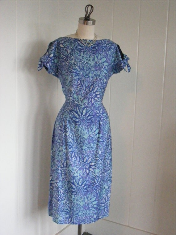 1940's/1950's Blue Floral Wiggle Pencil Dress Rockabilly Parnes Feinstein