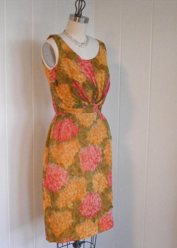 1950's Vintage Sleevless Flora Wiggle Dress Rockabilly by Miss Elliette