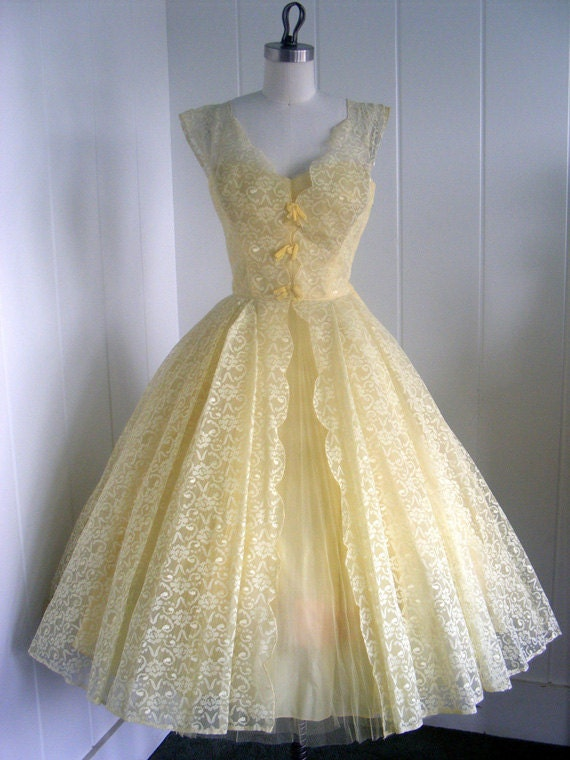 1950's Vintage Lace and Tulle Party Dress with Bows by Lorrie Deb
