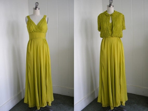 1930's Lime Green Chiffon Dress with Ruched Jacket