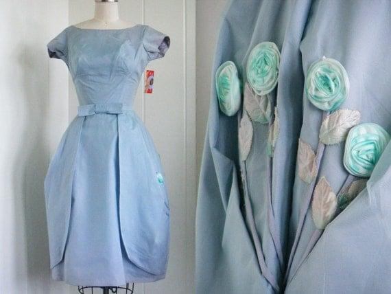 1950's Vintage Blue Organza Bubble Party Dress