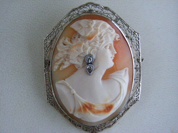 Antique 1800's Vintage Large 14k White Gold Cameo Diamonds Habille Filigree Brooch Pin