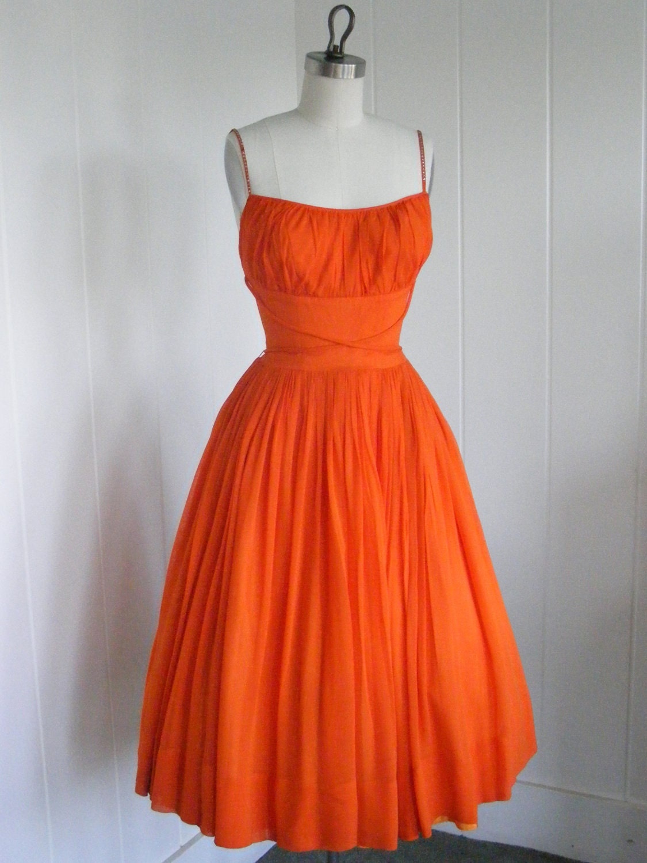 1950 s VIntage Tangerine Orange Shelf Bust Chiffon Prom