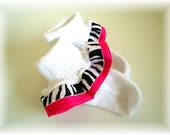 Zebra print and hot pink ruffle socks