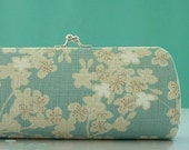 Delicate Cherry Blossoms on Light Blue..Medium Frame Purse