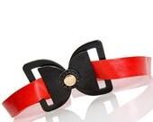 Alice Belt - red bow belt, Red Leather Belt, alice in wonderland belt, red sash, waist belt, hip belt