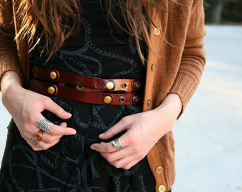 Brown Leather Belt  - waist belt - dress leather sash - wide leather belt -sash belt - women belt- BOGO SALE