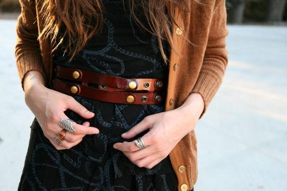 Brown Leather Belt  - waist belt - dress leather sash - wide leather belt -sash belt - women belt- BOGO SALE