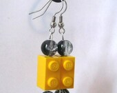 Dangling 2x1 Lego and bead earrings