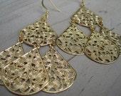 Cha Cha Gold (handmade filgree statement earrings)