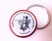 Treadles are Like Classic Cars Pocket Mirror with Red Accent Ring Sewing Machine