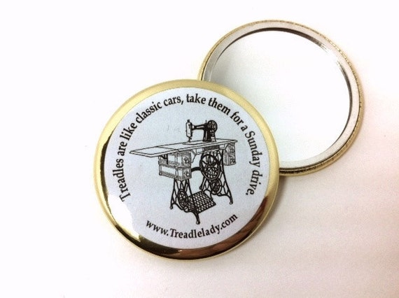Treadles are Like Classic Cars Round Pocket Mirror with Gold Accent Ring Sewing Machine