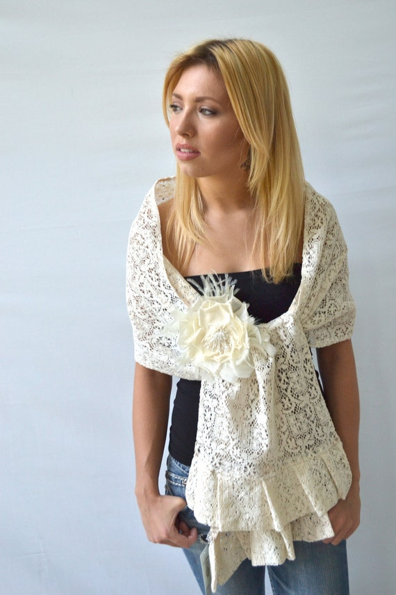 Lace Ivory Wedding Wrap Shawl