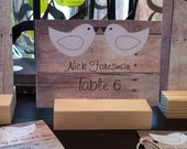 Set of 50 Rustic Love bird place cards/escort cards with 50 place card holders