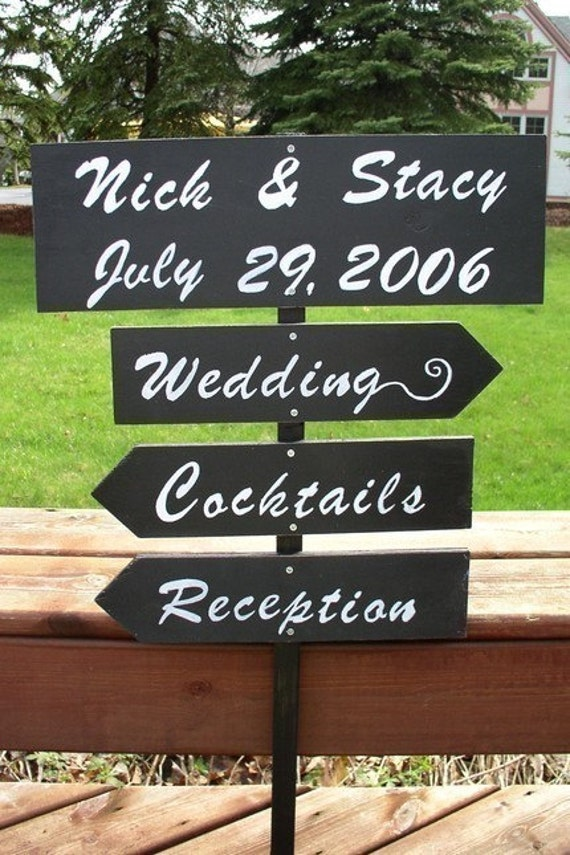 Custom Wedding Directional Signs on 4ft Stake