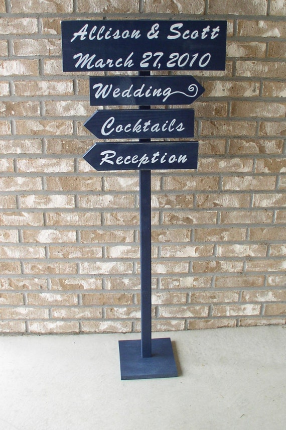 FREE-STANDING Custom Wedding Signs on 4ft Stake WITH BASE