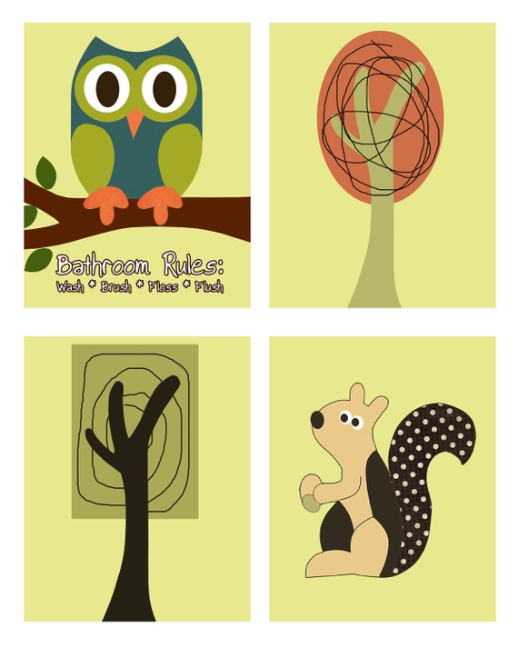 Set of 4 8x10 prints Woodland  owl tree and squirrel matches Target Home Vista Tree House Shower Curtain
