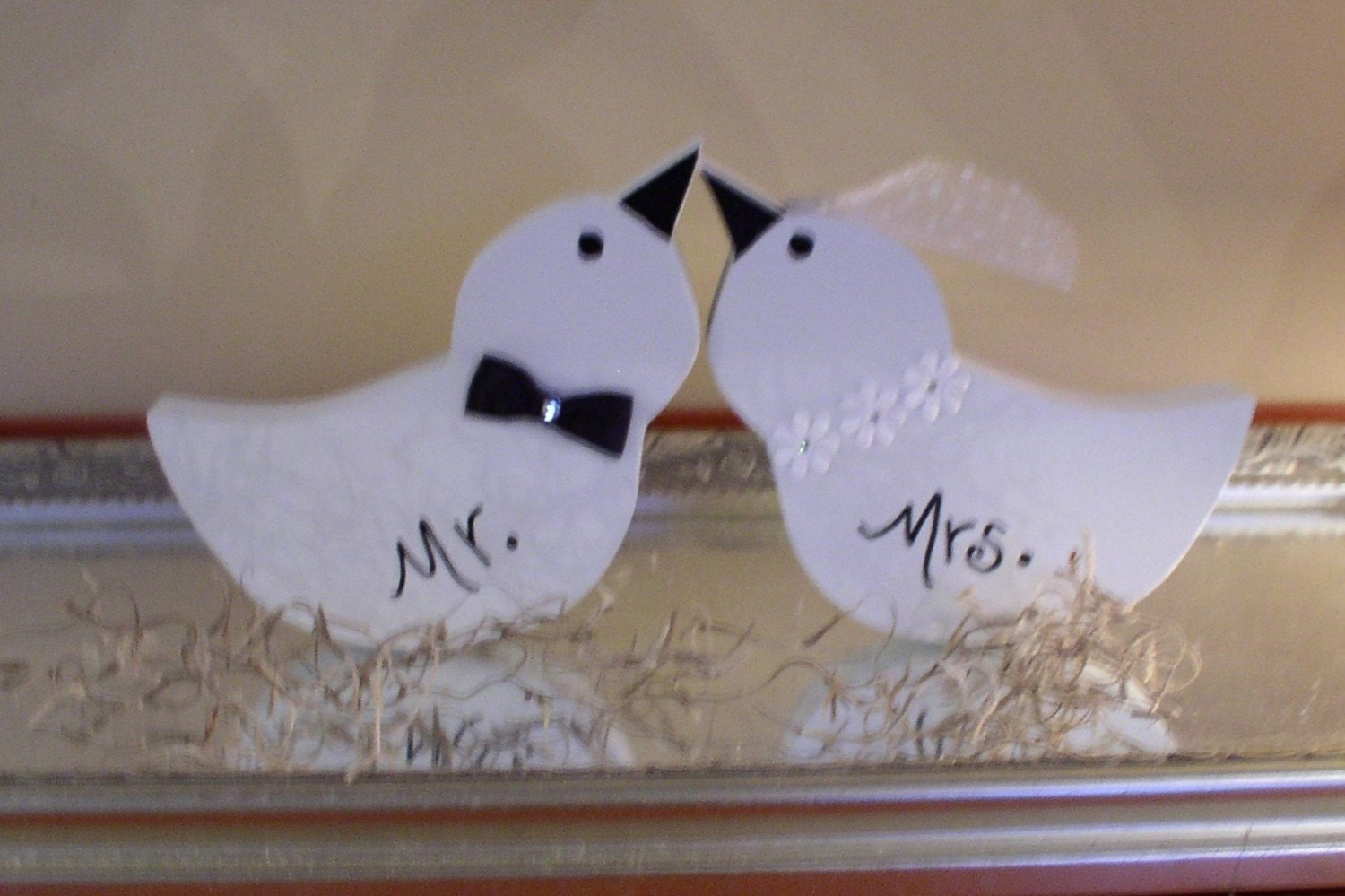 Items Similar To Love Birds Cake Topper Wooden Mr And Mrs Wedding Birds On Etsy