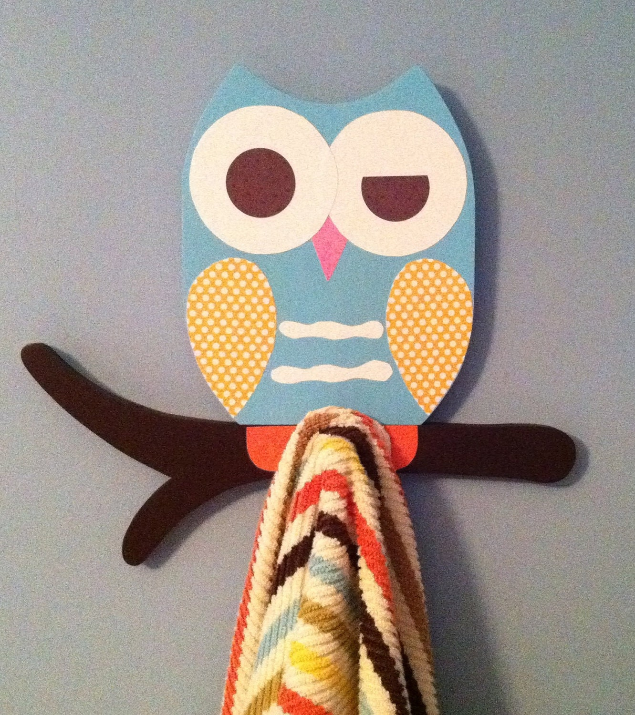 Bathroom Decor Owls: Owl Towel Rack Owl Bathroom Decor Kid's Towel Rack By