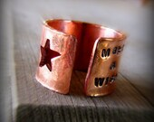 Ring, copper wide band star cut out sentiment - Made to order in whole and half sizes 9 and up