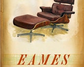 Modern Design Deck - E is for Eames - Lounge  - small print - of  a mid century icon