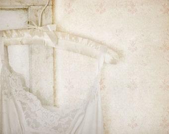 Tattered, white slip, old wallpaper, worn wood, floral wallpaper, Fine Art Photograph, 8x10