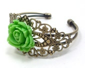 Cuff Bracelet Lime Green Rose Flower  . ROMANCE - Free Shipping