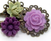 Flower Hair Pins Purple Lilac Sage Green . GRAPES