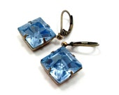 CLEARANCE - Dangle Earrings Blue Square Vintage Jewels by hotpinkchick on Etsy