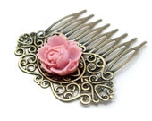 Hair Comb Pink Rose Bridal Flower Brass . VICTORIAN