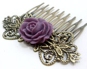 Purple Rose Hair Comb - Lilac Flower by HotPinkChick on Etsy