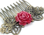 Rose Hair Comb - Two Tone - Red, White - Flower by HotPinkChick on Etsy