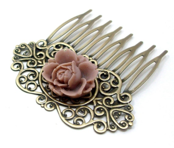 Flower Hair Comb Bridal Taupe Brass Lotus . VICTORIAN