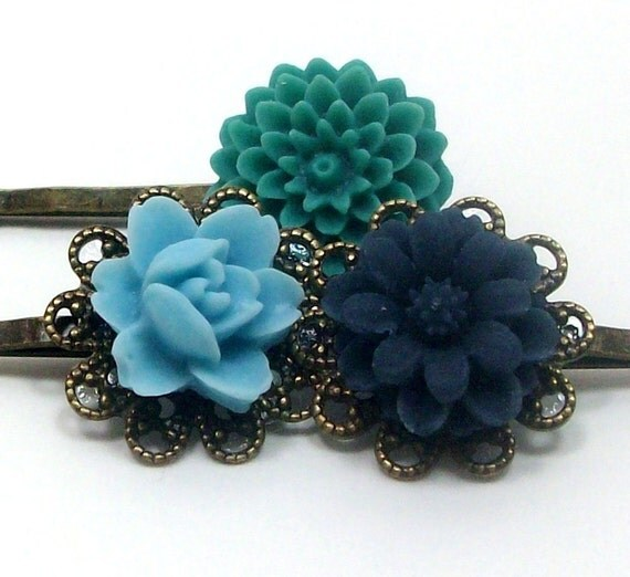 Flower Hair Pins Blue Teal Green Bridal . COOL BREEZE by hotpinkchick on Etsy